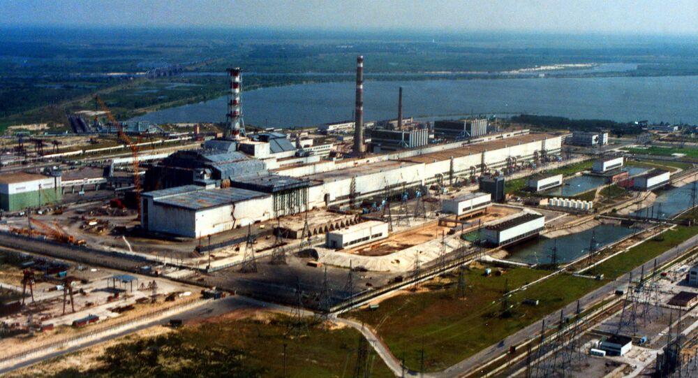 Pohled na jadernou elektrárnu v Černobylu