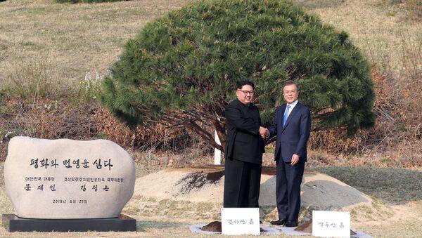 Jihokorejský prezident Mun Če-in a vůdce KLDR Kim Čong-un - Sputnik Česká republika