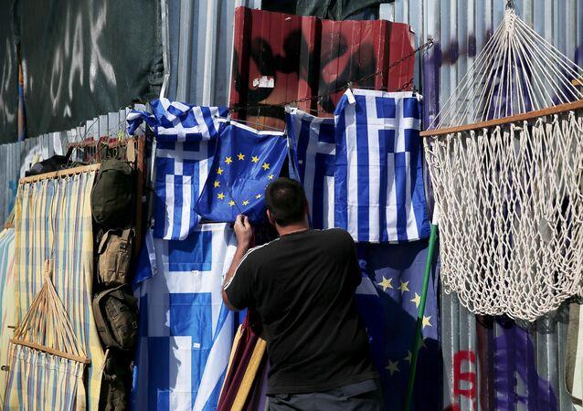 Vlajky Řecka a EU