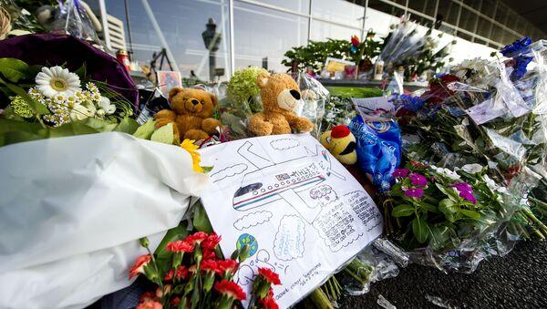 Květiny a hračky na památku obětí při katastrofě malajského Boeingu - Sputnik Česká republika