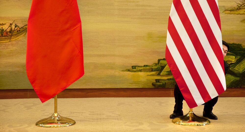 Vlajky Číny a USA