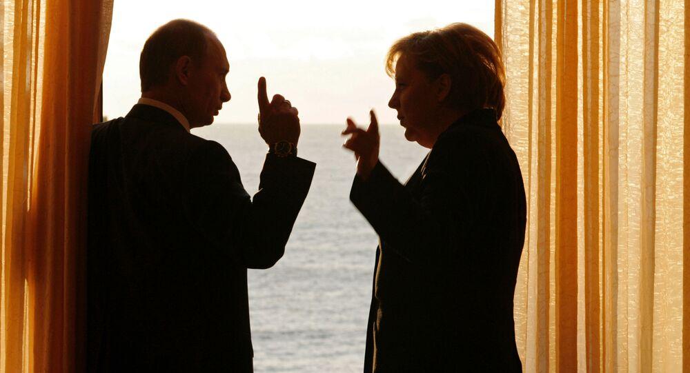 Ruský prezident Vladimir Putin a německá kancléřka Angela Merkelová