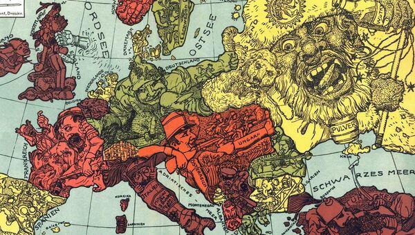 Karikatura mapy Evropy. Ilustrační foto - Sputnik Česká republika