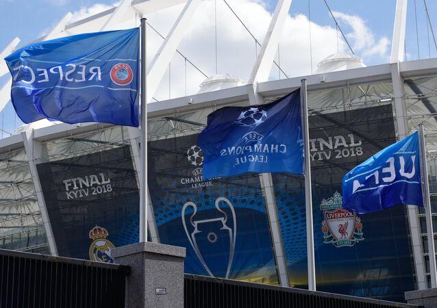 Kyjevský stadion před finále Ligy mistrů 2018