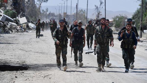Syrští vojáci na jihu Damašku - Sputnik Česká republika