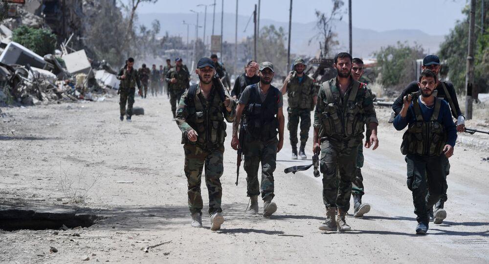 Syrští vojáci na jihu Damašku