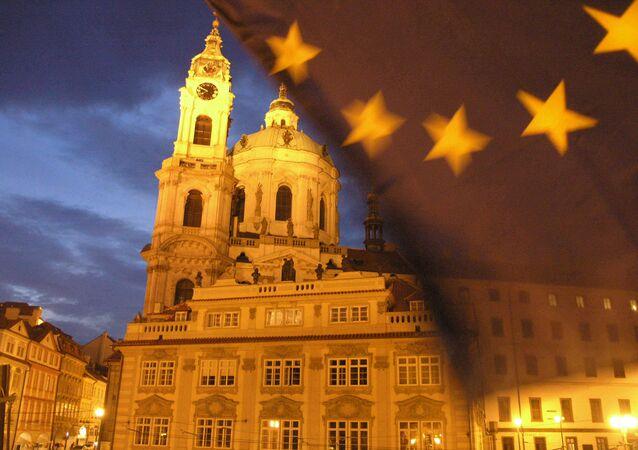 Vlajka EU v Praze