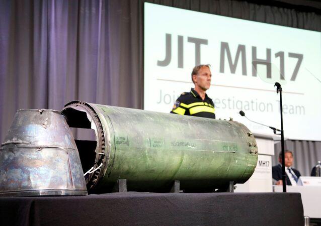 Pozůstatky rakety, která podle závěru Společné vyšetřovací skupiny sestřelila letadlo letu MH17