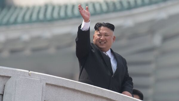 North Korean leader Kim Jong-un during a military parade marking the 105th birthday of Kim Il-Sung, the founder of North Korea, in Pyongyang - Sputnik Česká republika