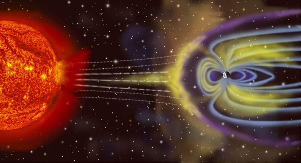 Schéma vzniku magnetické bouře na Zemi