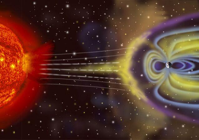 Schéma vzníku geomagnetické bouře na Zemi