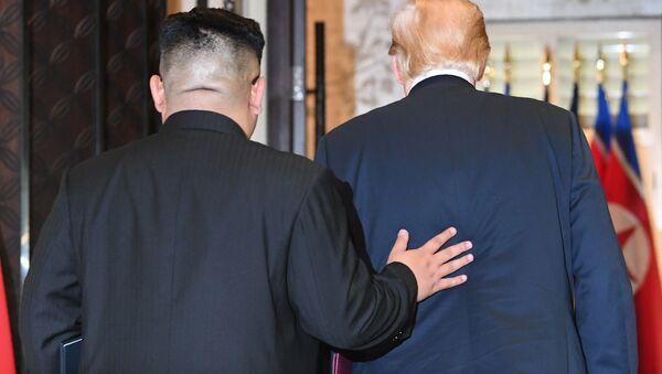 Vůdce KLDR Kim Čong-un a prezident USA Donald Trump - Sputnik Česká republika