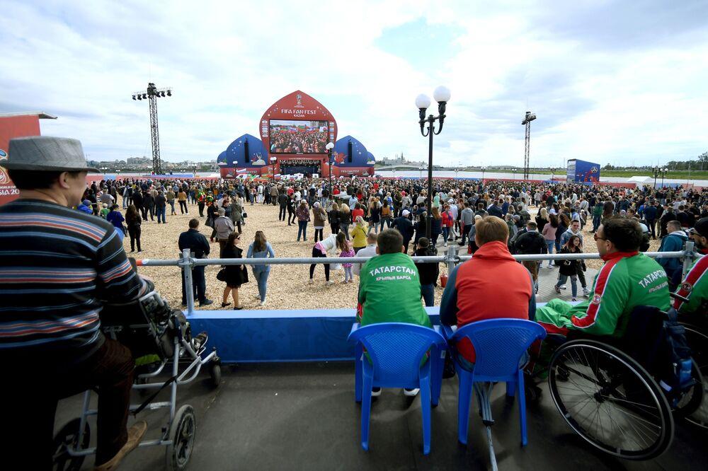 Místa pro osoby se zdravotním postižením na festivalu fanoušků Světového poháru 2018 v Kazani
