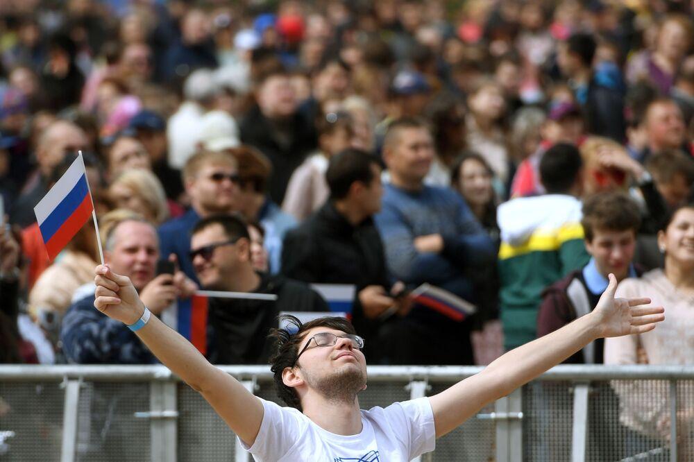 Návštěvníci festivalu fanoušků Světového poháru 2018 v Kazani
