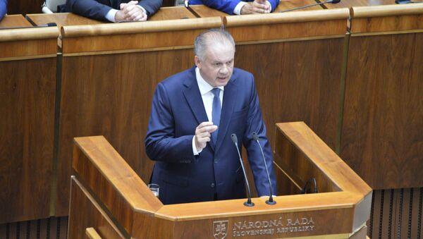Slovenský prezident Andrej Kiska vystupuje v parlamentu - Sputnik Česká republika