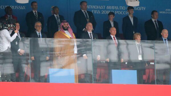 Prezident Putin s princem Saúdské Arábie a prezidentem FIFA - Sputnik Česká republika