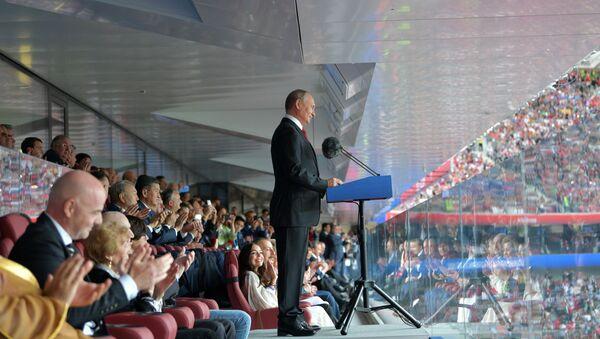 Vystoupení Vladimira Putina během ceremonie  zahájení MS 2018 - Sputnik Česká republika