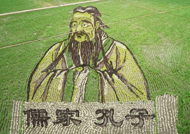 Portrét Konfuciuse na rýžovém poli v Číně