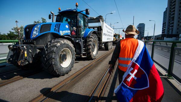 Slovenští farmáři s traktory v centru Bratislavy - Sputnik Česká republika