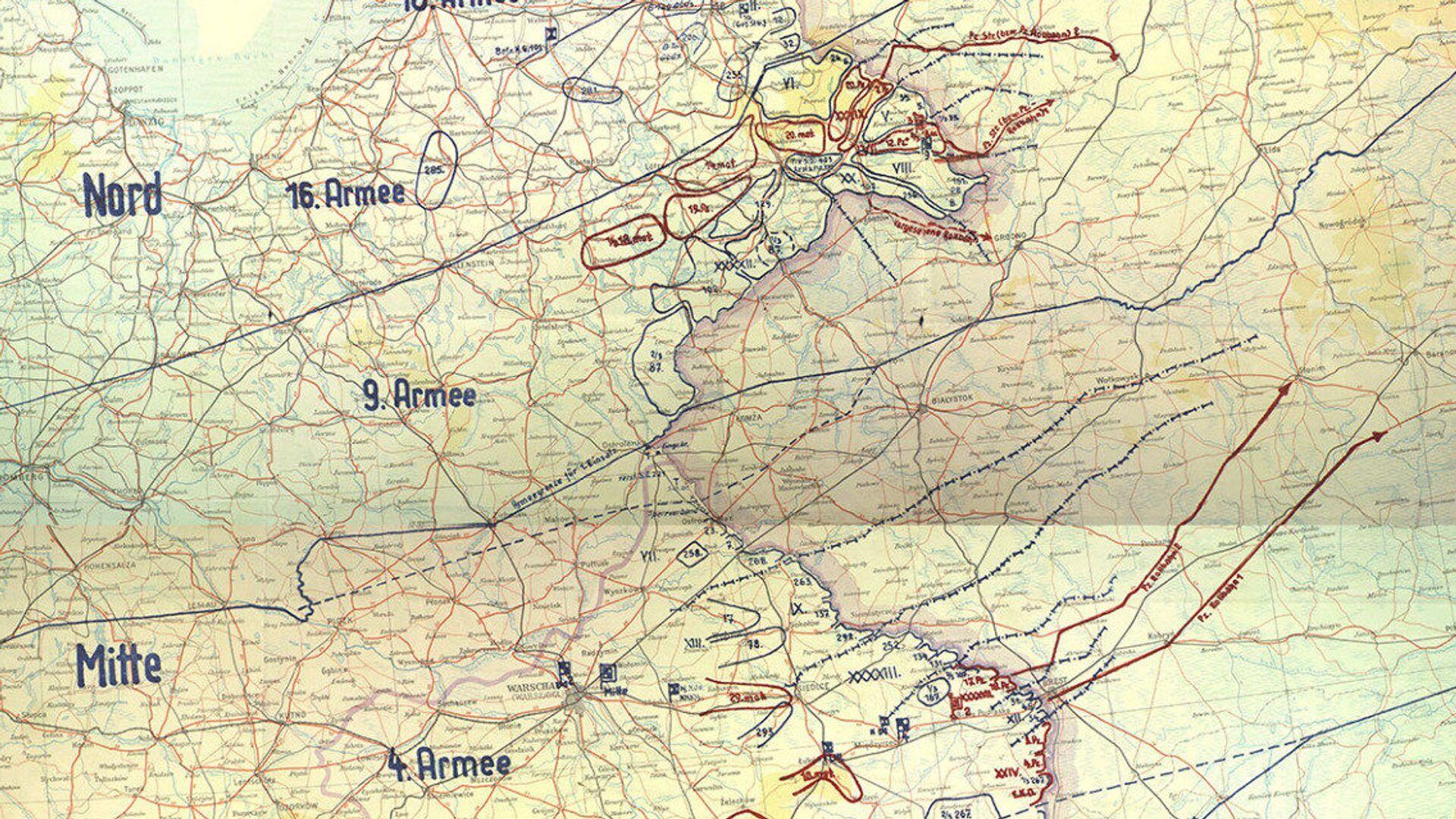 Trofejní mapa německého plánu Barbarossa - Sputnik Česká republika, 1920, 02.06.2021