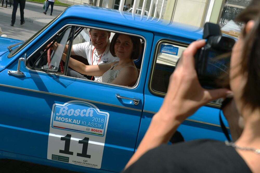 ZAZ-968M před zahájením rally veteránů Bosch Moskau Klassik v Moskvě.