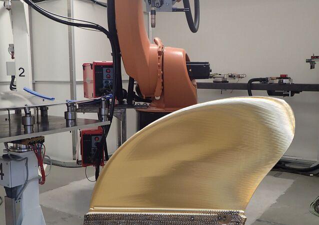 Lopatka lodní vrtule, která byla vytištěná na 3D tiskárně