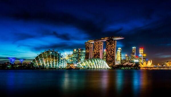 Mrakodrapy Singapuru v noci - Sputnik Česká republika