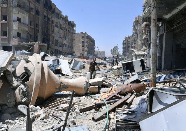Damašek po útoku, Sýrie. Ilustrační foto