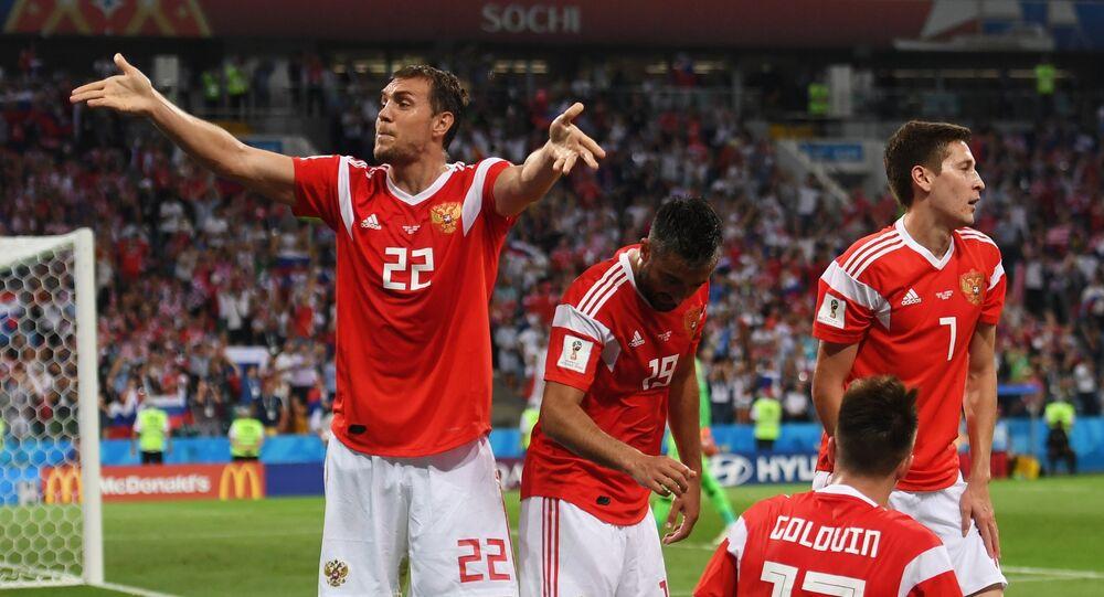 Oslava ruského gólu v zápase Rusko - Chorvatsko