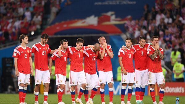 Ruští fotbalisté během pokutových kopů v zápase s Chorvatskem - Sputnik Česká republika