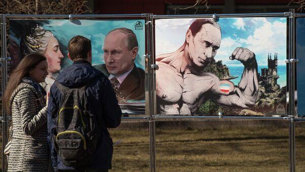 Obrázky Vladimira Putina na výstavě věnované Krymskému jaru - Sputnik Česká republika