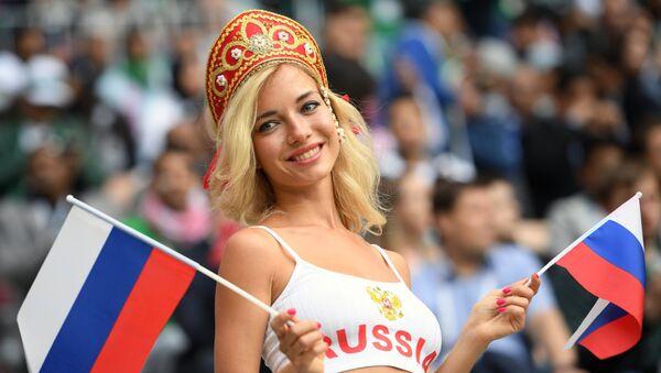 Ruská fanynka během utkání mezi Ruskem a Saúdskou Arábií - Sputnik Česká republika