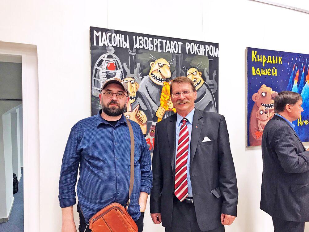 Vernisáž známého ruského hudebníka a karikaturisty Vasi Ložkina Ruská propaganda v galerii Nadace pro rozvoj architektury a stavitelství na Václavském náměstí v Praze
