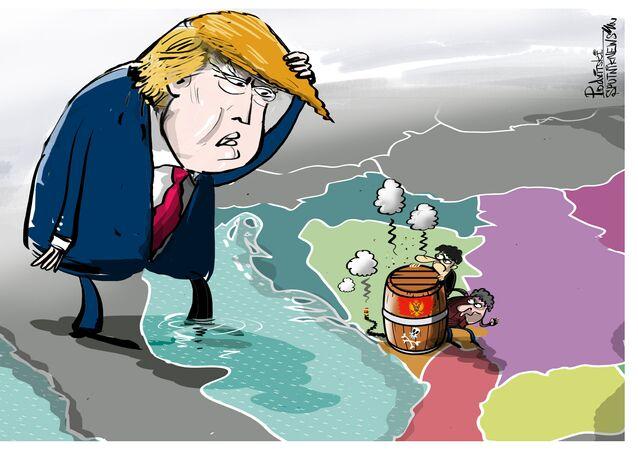 Černá hora—země s agresivním národem karikatura