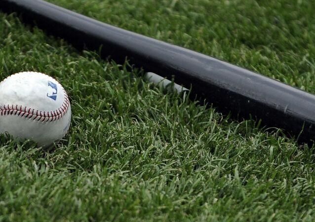 Baseballový pálka na trávě