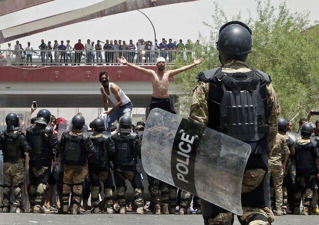 Protestní akce v iráckém městě Basra