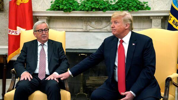 Předseda Evropské komise Jean-Claude Juncker s americkým prezidentem Donaldem Trumpem v Oválné pracovně - Sputnik Česká republika