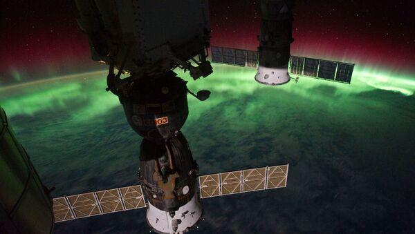 Polární záře nad Novým Zélandem,zachycená z ISS. - Sputnik Česká republika