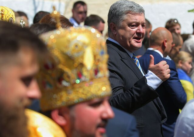 Petro Porošenko průvodu u příležitosti 1030. výročí Pokrštění Rusi
