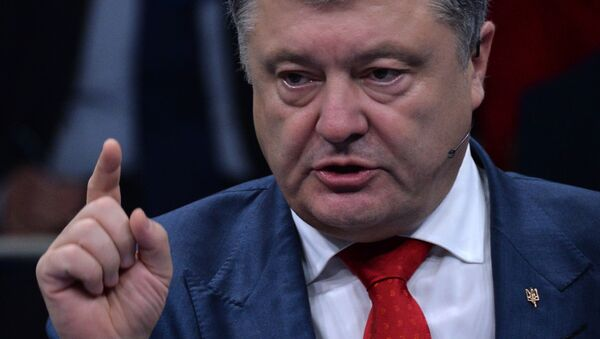 Ukrajinský prezident Petro Porošenko na summitu NATO v Bruselu - Sputnik Česká republika