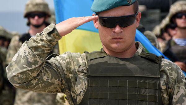 Ukrajinský voják na zahájení vojenských cvičení NATO v Gruzii - Sputnik Česká republika