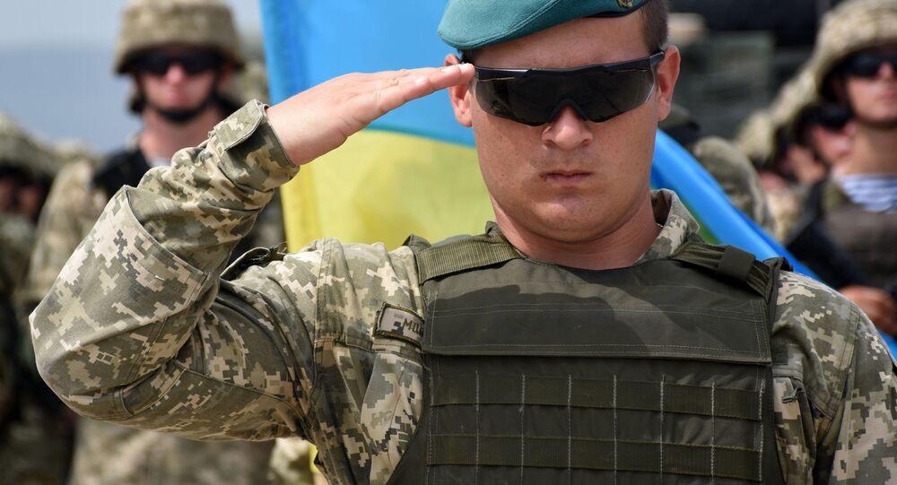 Ukrajinský voják na zahájení vojenských cvičení NATO v Gruzii (ilustrační foto)