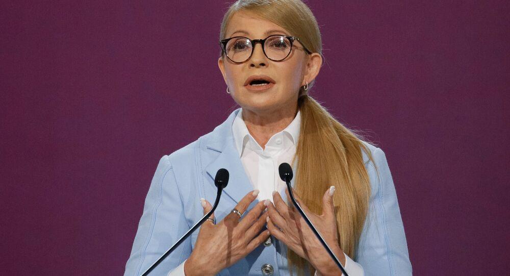 Vůdkyně politické strany Baťkyvščyna Julia Tymošenková