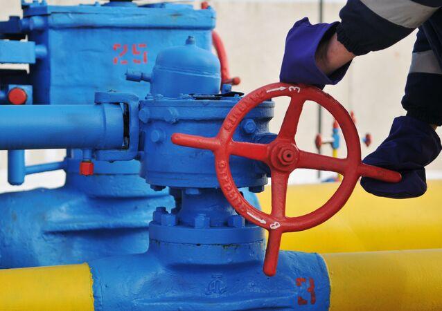 Ventil na plynovodu ve Lvovské oblasti. Ilustrační foto