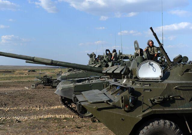 Taktické cvičení ruských vojáků Jižního vojenského okruhu