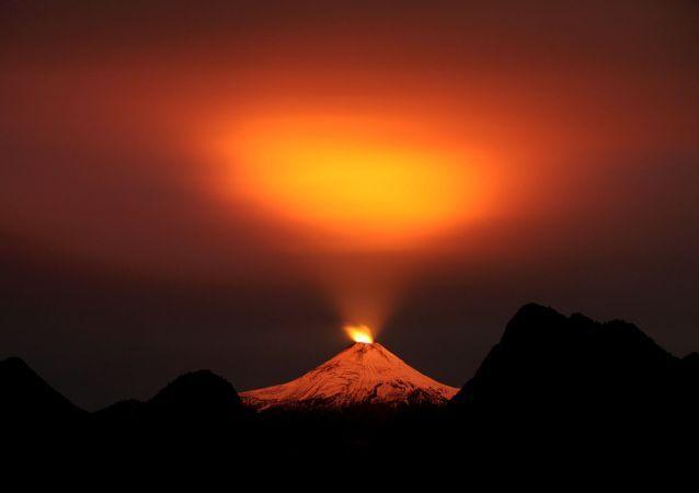 Pohled na sopku Villarrica v Chile