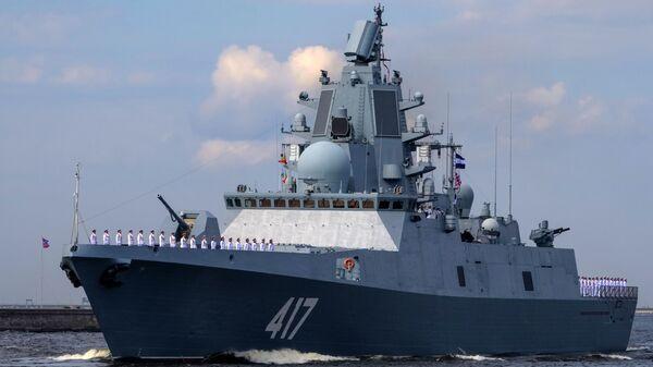 Fregata Admirál Gorškov při zkoušce námořní přehlídky v den námořnictva v Kronštadtu - Sputnik Česká republika