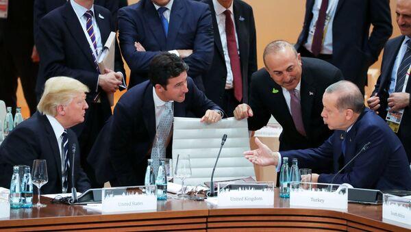 Prezident USA Donald Trump a jeho turecký protějšek Recep Tayyip Erdogan - Sputnik Česká republika