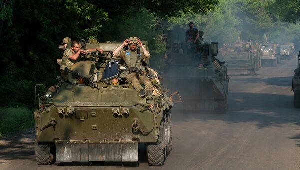 Ukrajinští vojáci u obce Marinka - Sputnik Česká republika