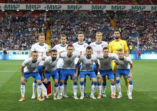 Česká reprezentace před zápasem s domácím Ruskem v Rostově na Donu